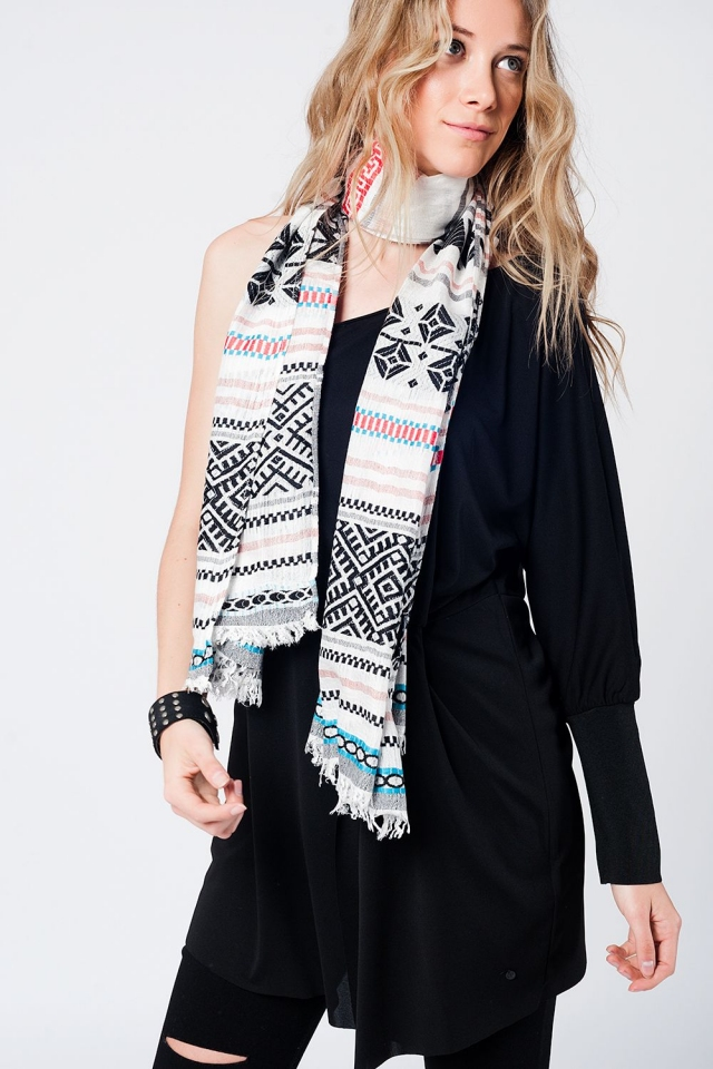 Scarf in black geo-tribal design