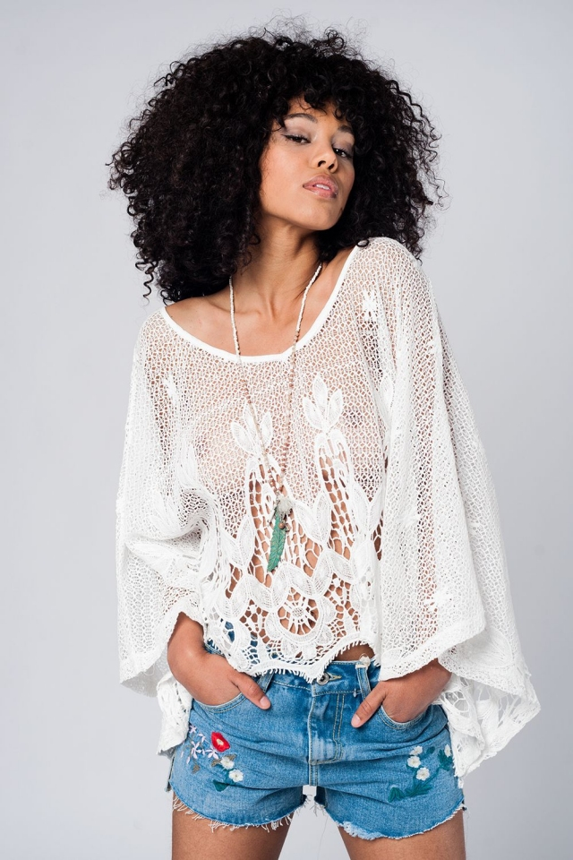 Oversized crochet top in white