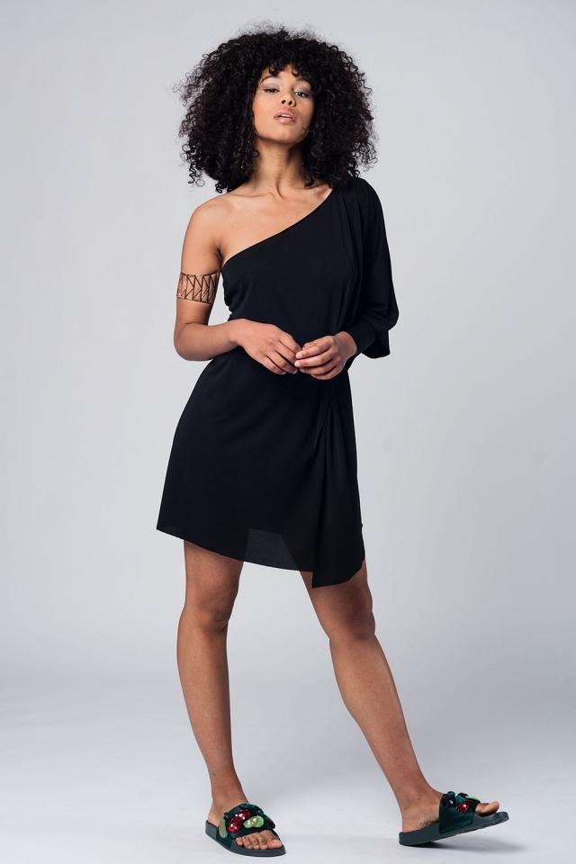 One shoulder asymmetric black mini dress