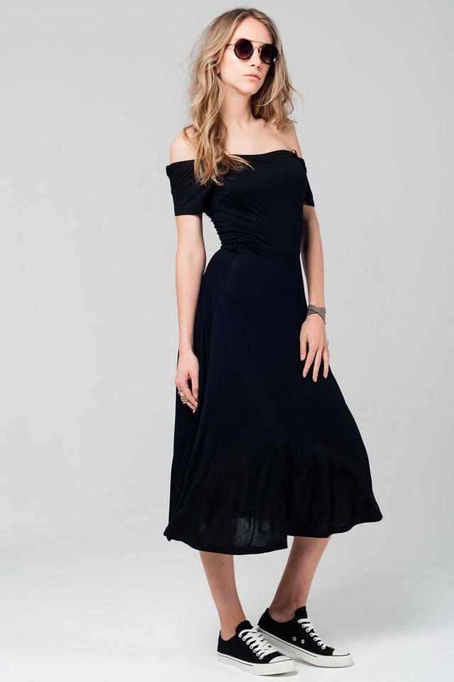 Off shoulder black midi dress with crossed back