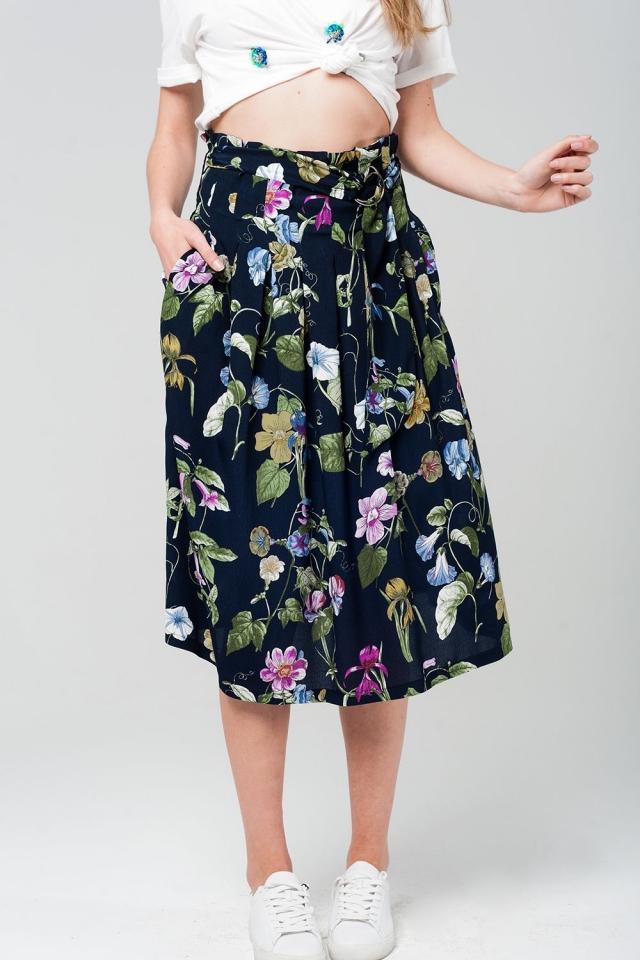 Floral midi skirt in navy