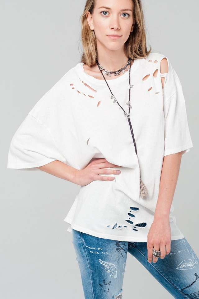 Oversized white t-shirt with nibble detail