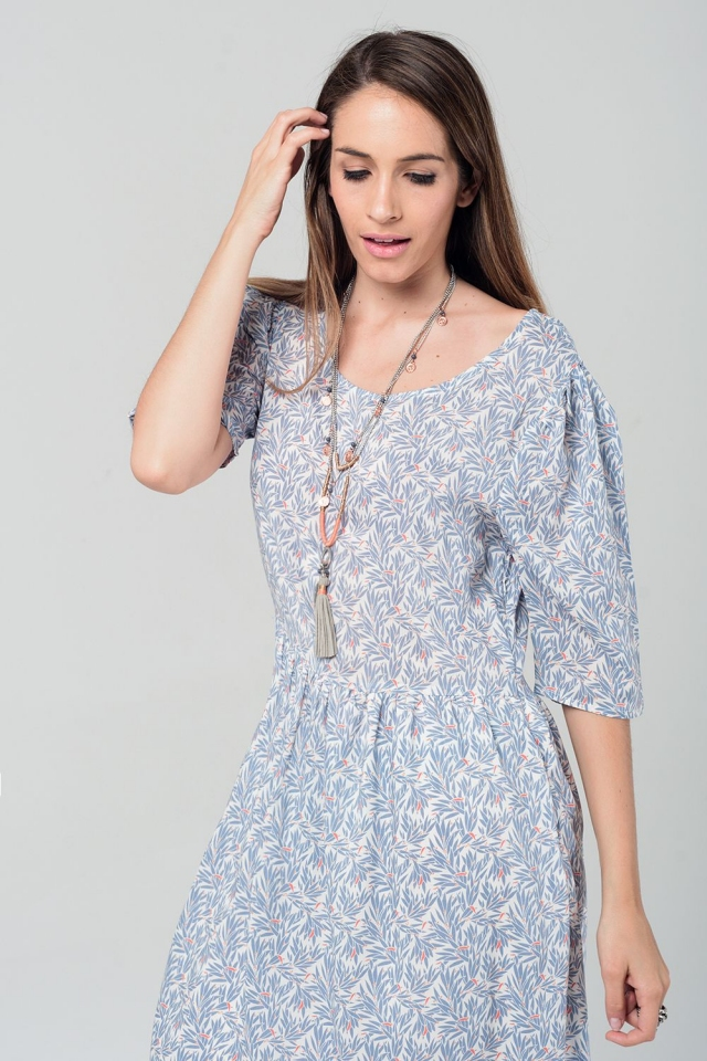 Graues Midi-Kleid mit Blättern Drucken