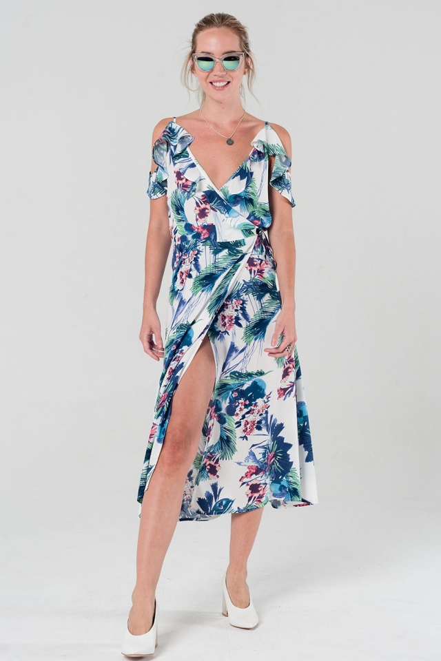Floral printed wrap dress with ruffle detail
