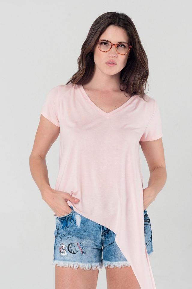 Asymmetrisches rosa T-Shirt