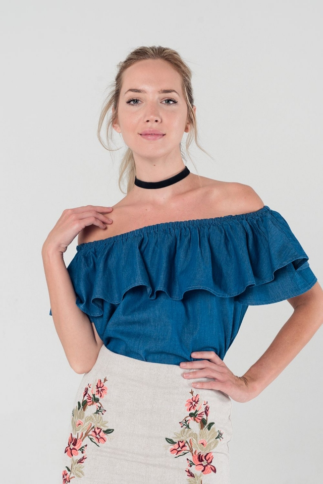 Dark denim off shoulder ruffle top
