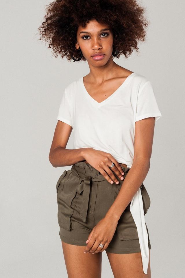 Asymmetrisches weißes T-Shirt