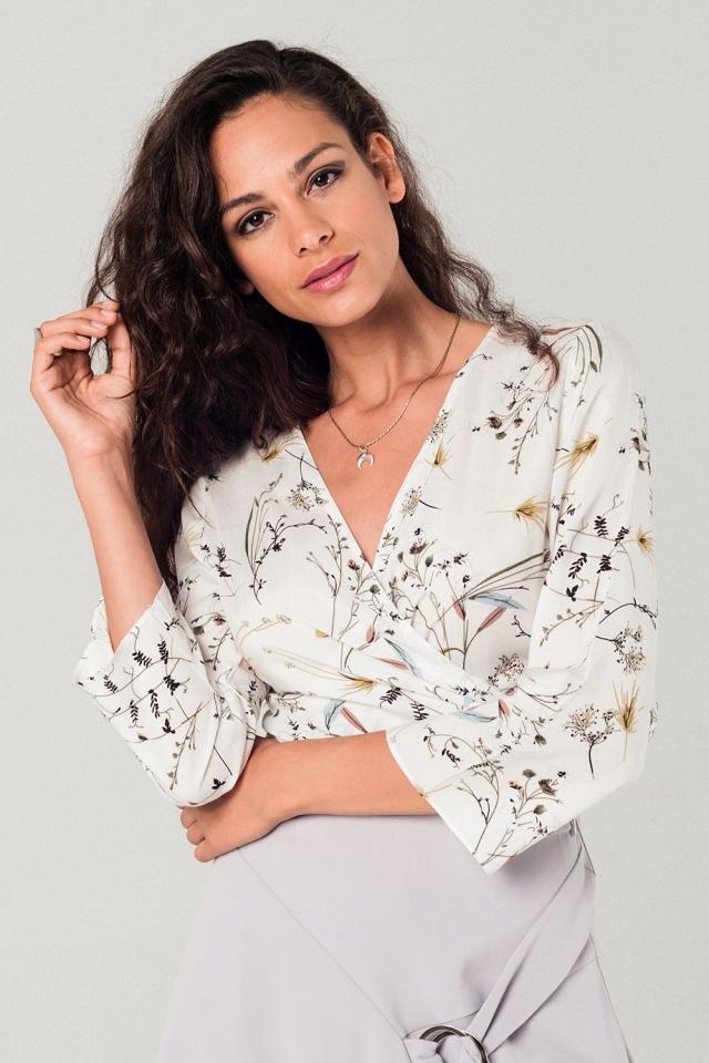 Wrap tea blouse in white floral print