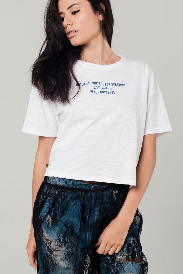 Weißes T-Shirt mit Text Detail