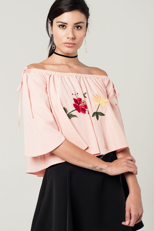 Off shoulder pink cropped top with embroidered flowers