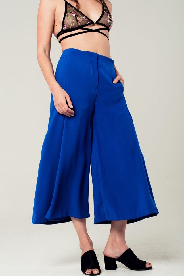 Electric blue culottes
