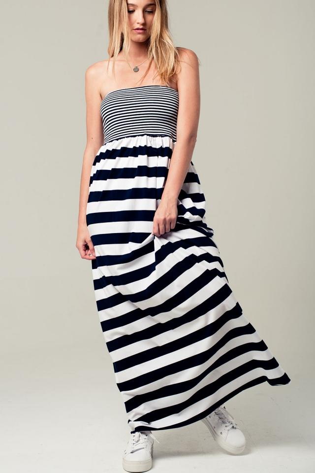Bandeau Maxi Kleid mit marineblauen Streifen