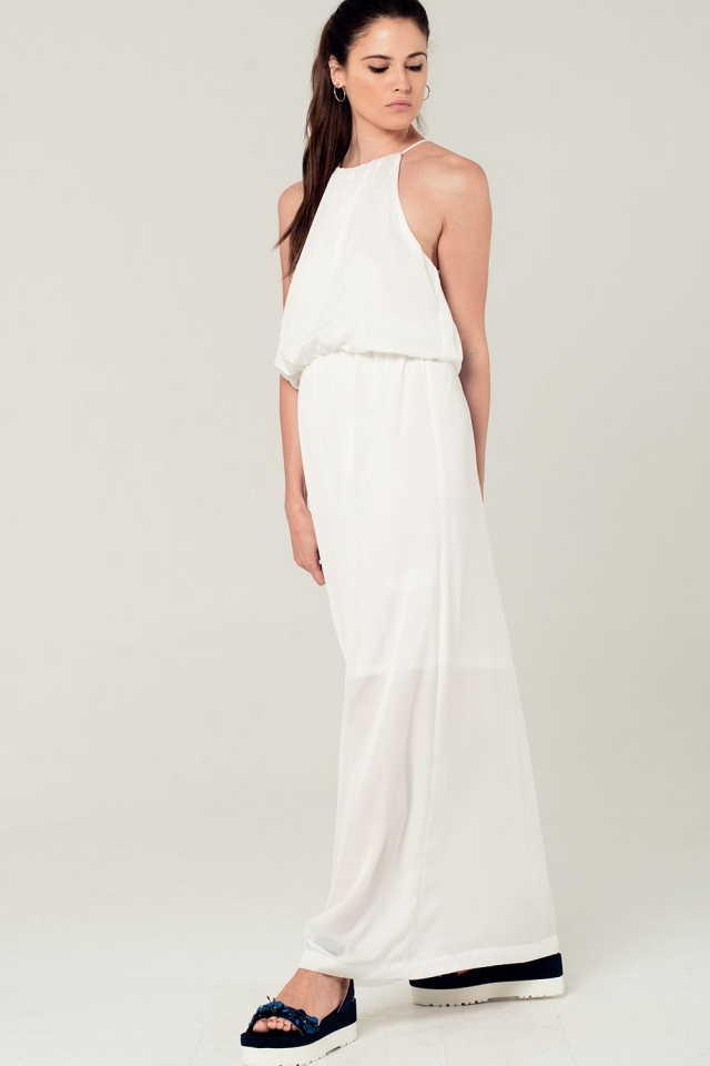 White maxi dress with halter neck detail