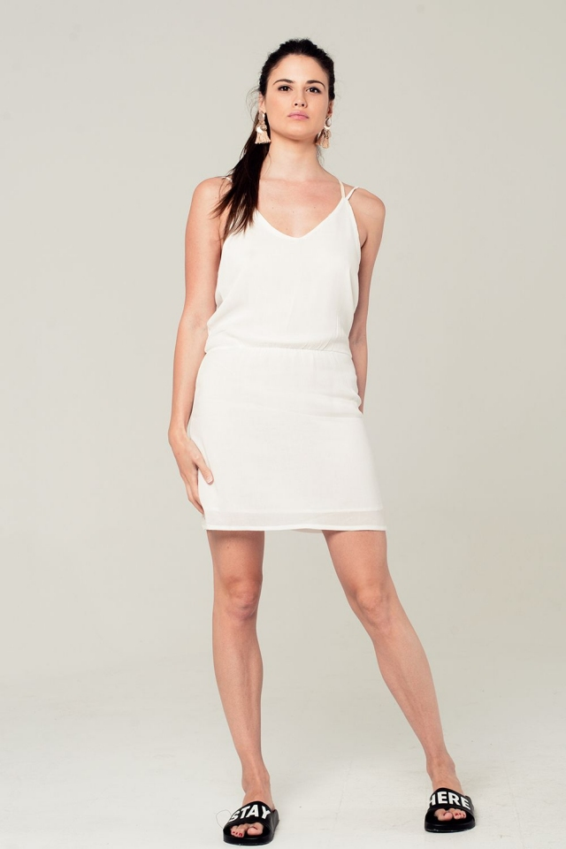 White mini dress with back crochet detail