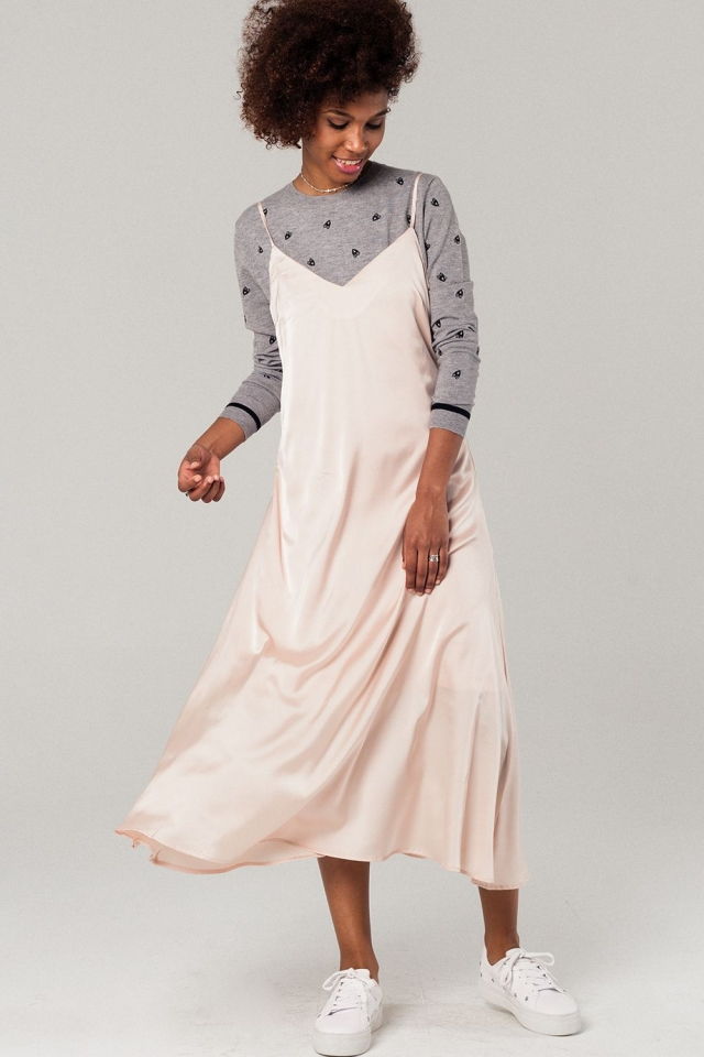 Cami slip dress in light pink