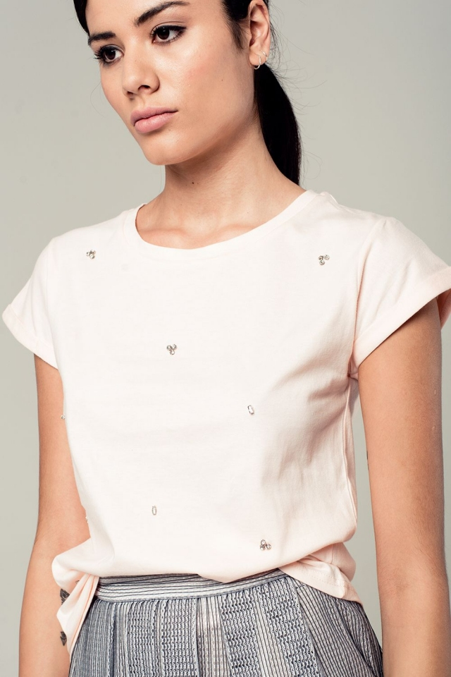 Pink t-shirt with strass details