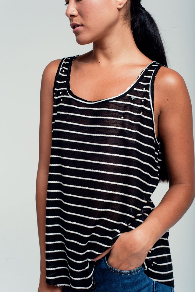 Striped tank top in black with embellished detailing