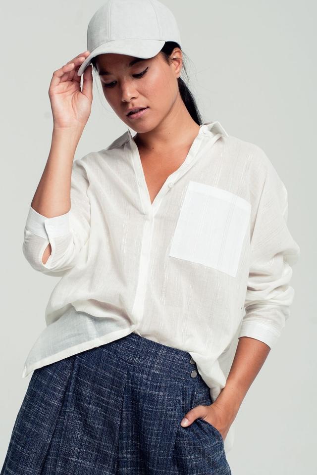 Metallic stripe detail shirt in white