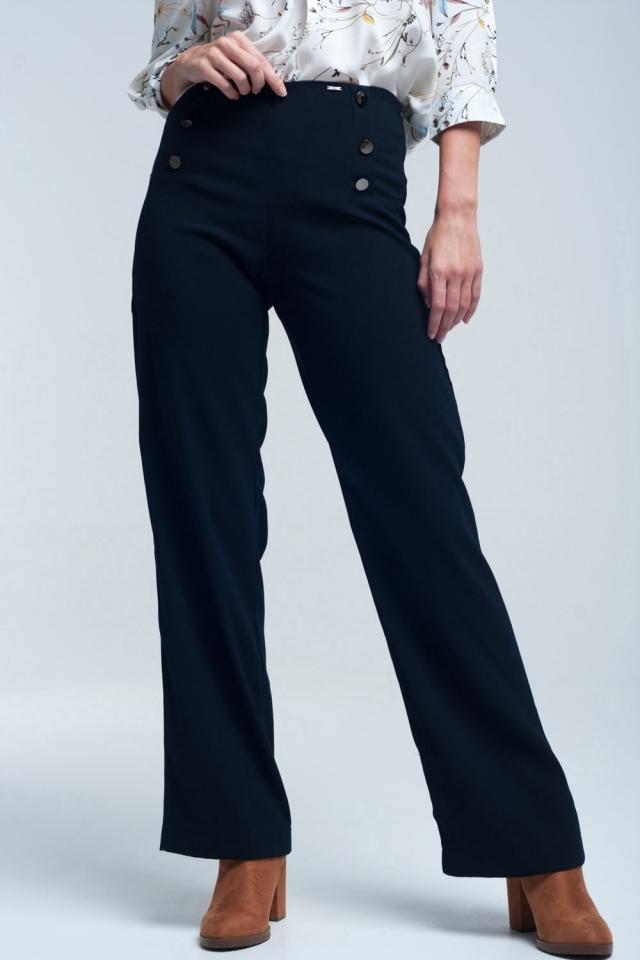 Navy Hose mit Front Detail Runde Button Stil marine