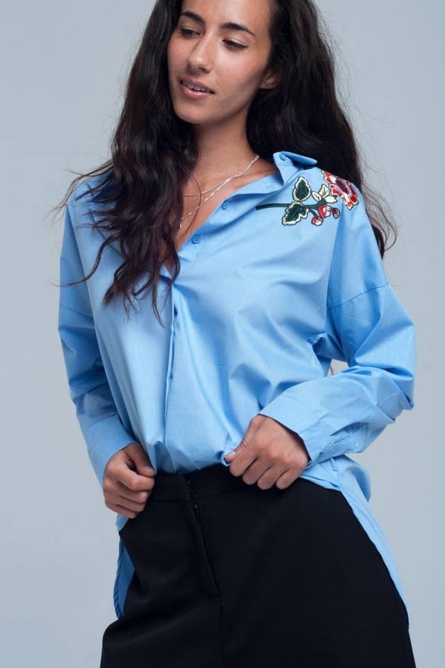 Blue shirt with embroidery detail