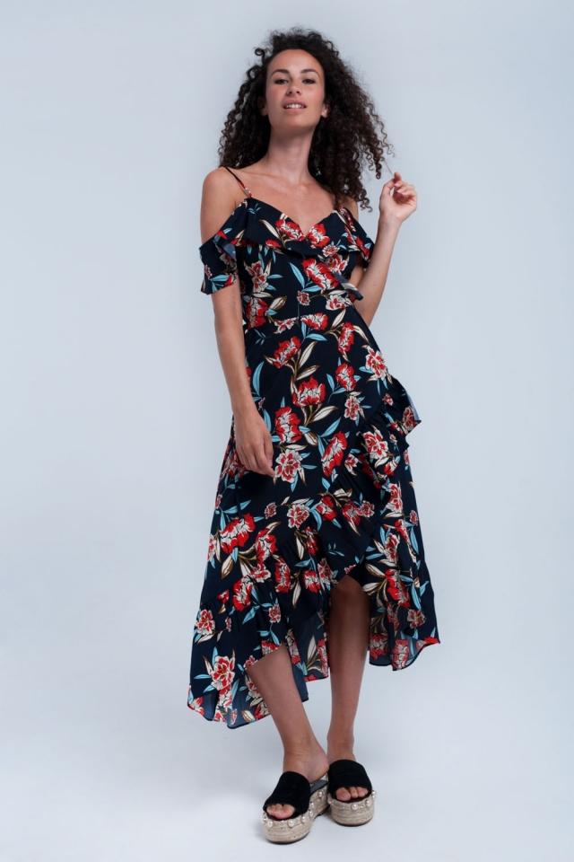 Navy printed wrap dress