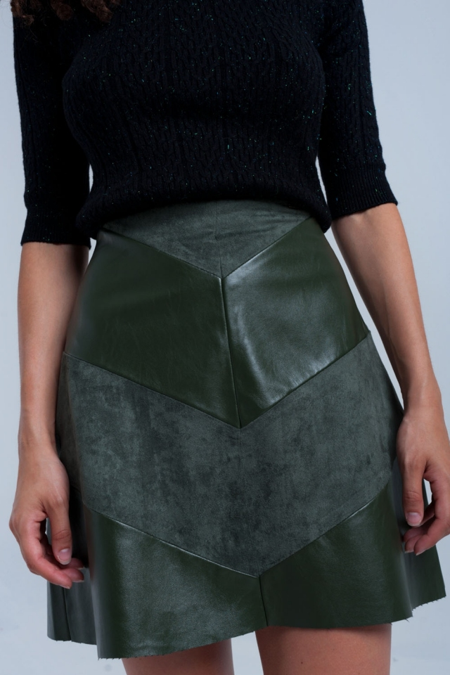 Khaki skirt with combine fabrics