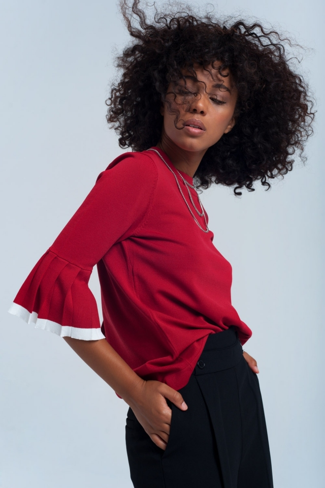 Bordeaux top with ruffle sleeves