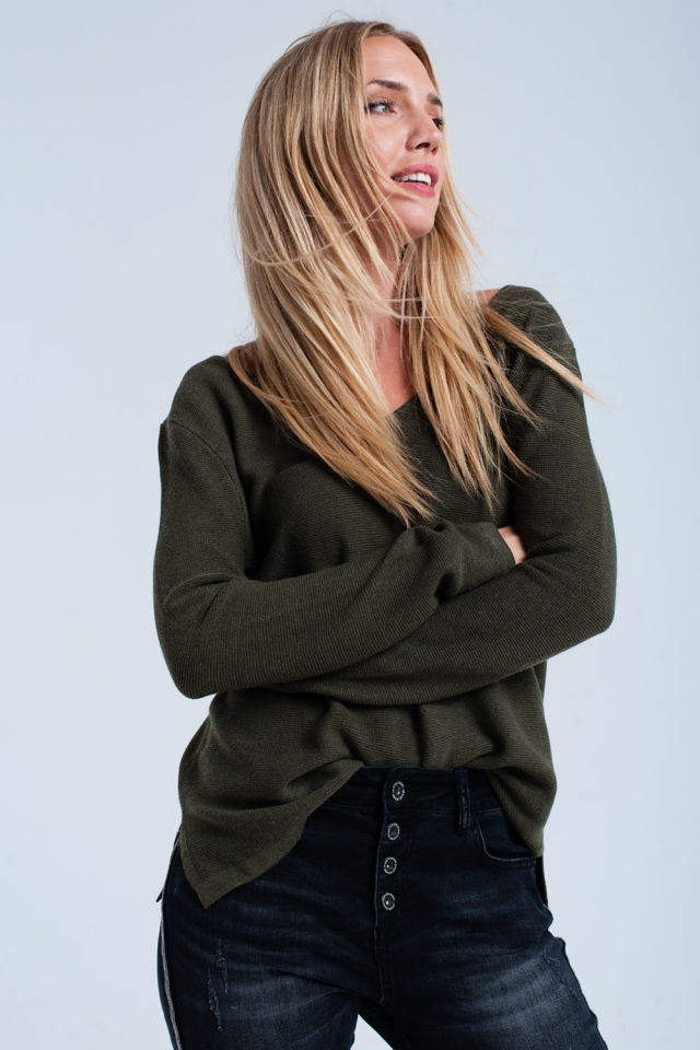 Khaki ribbed sweater