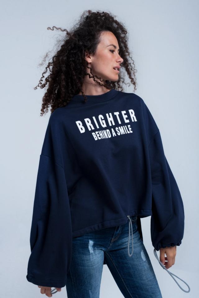 Navy asymmetric sweater