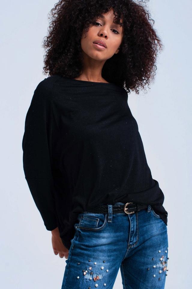Schwarzes übergroßes Hemd