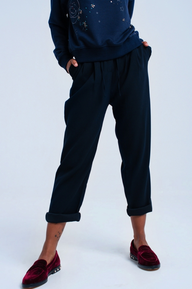 Navy pants with ruffles and laces