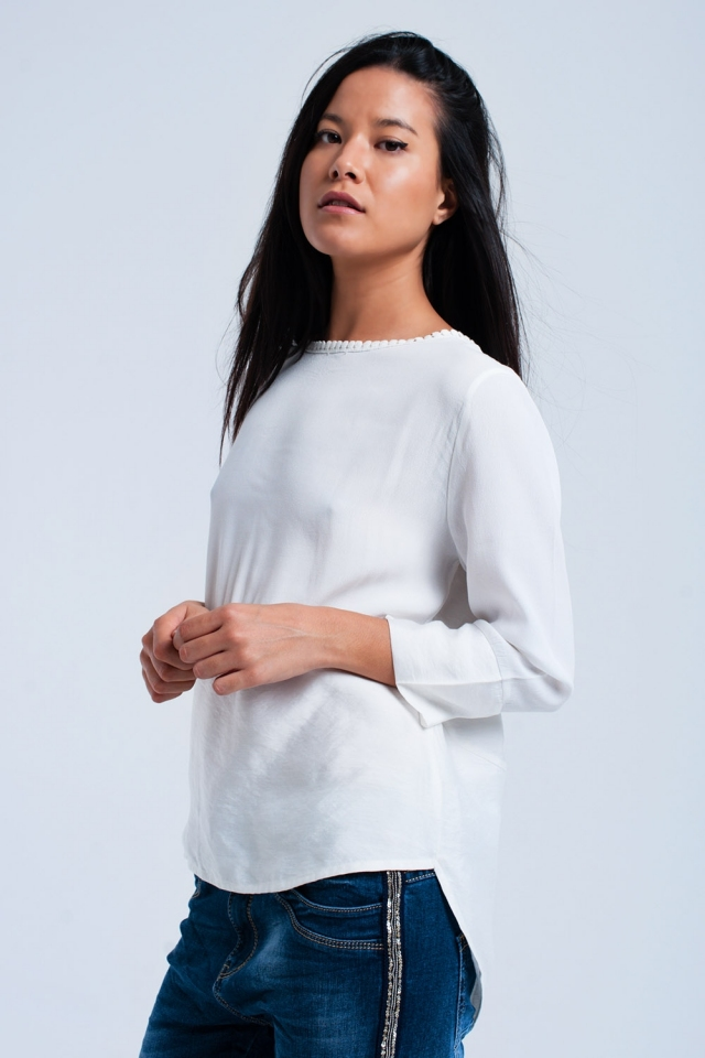 White mixed shirt with crochet detail