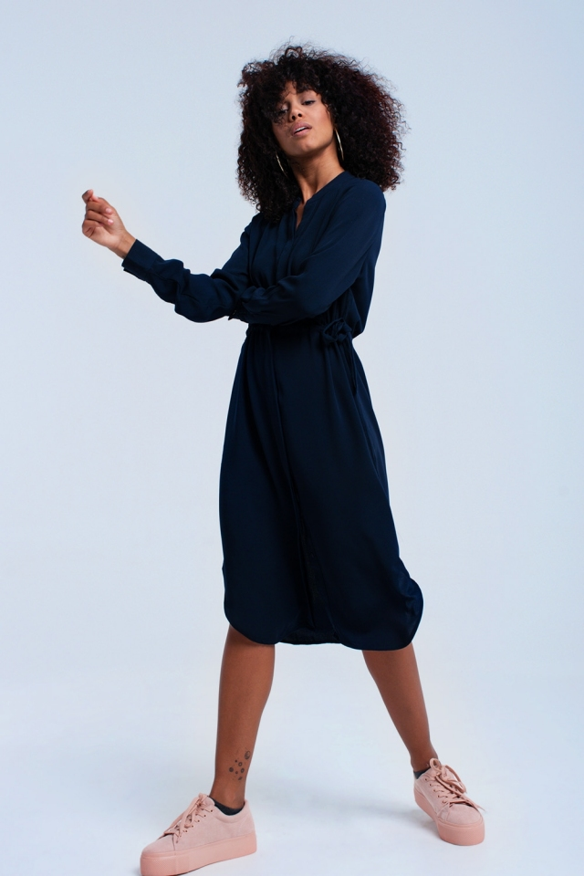 Navy midi dress with laces