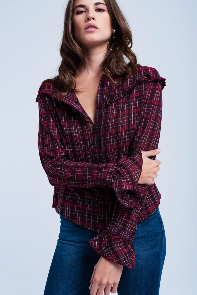 Bordeaux checked shirt with ruffle