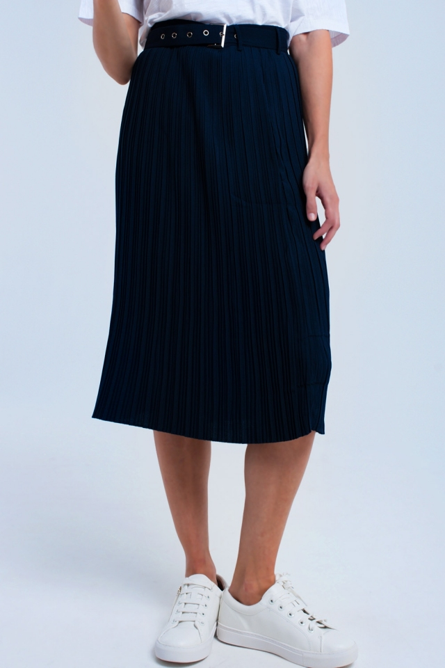 Blue midi skirt with belt