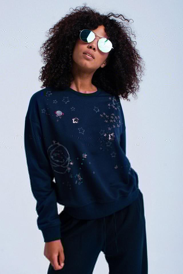 Navy sweatshirt with beads