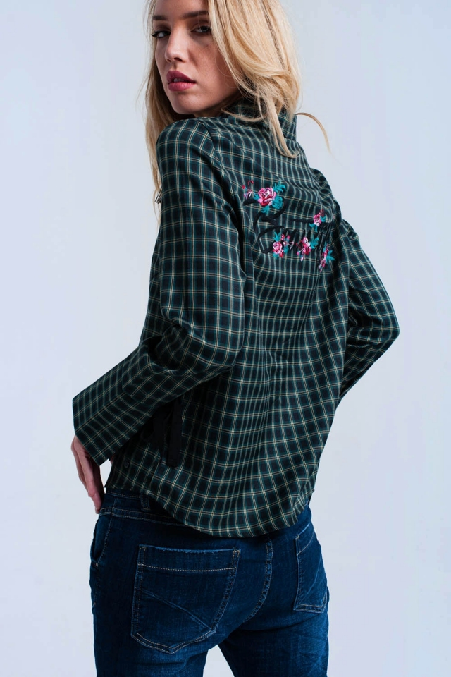 Green checked shirt with ribbons