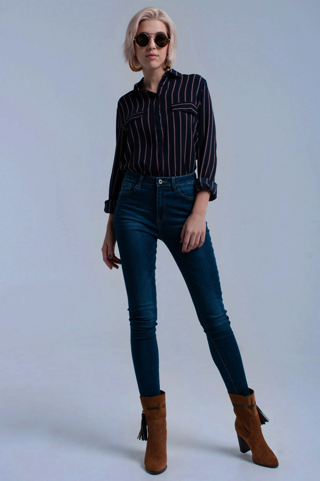 Navy shirt with stripes