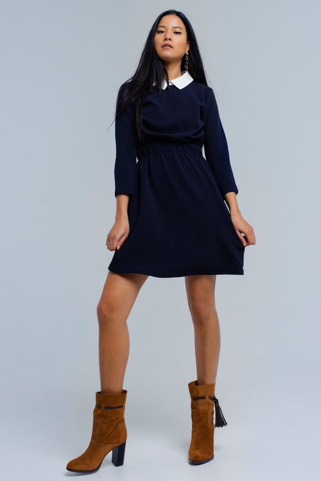 Navy dress with elastic waist