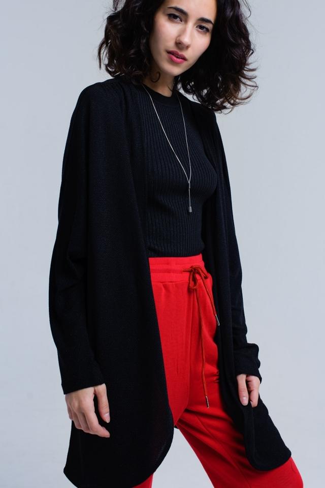 Black shiny cardigan
