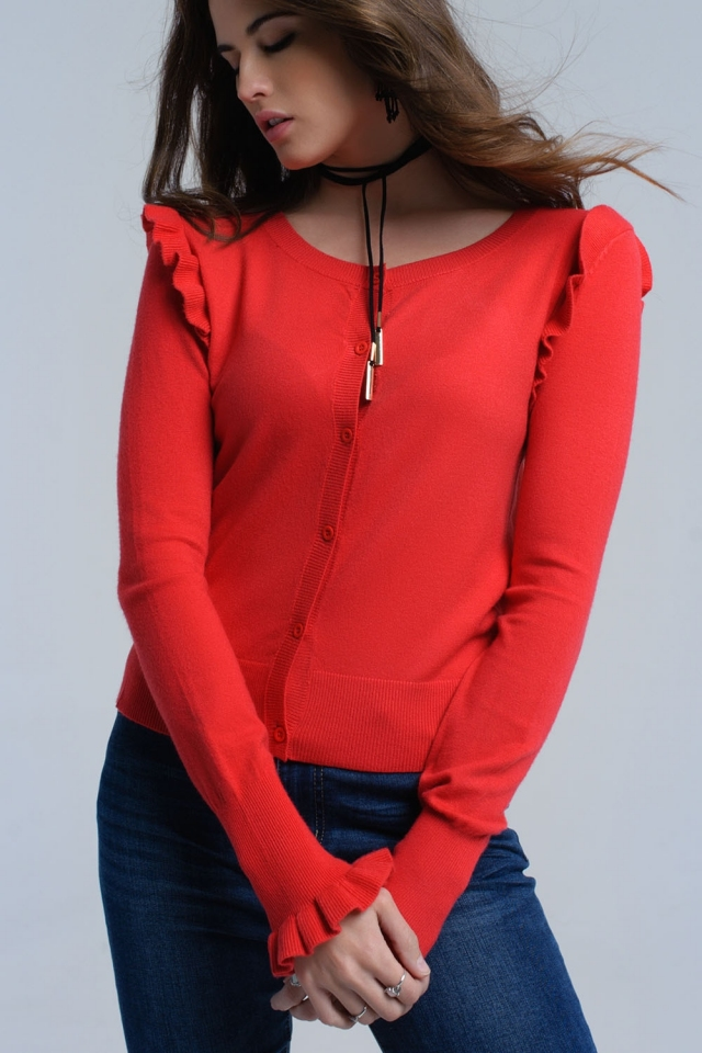 Red cardigan with ruffle detail