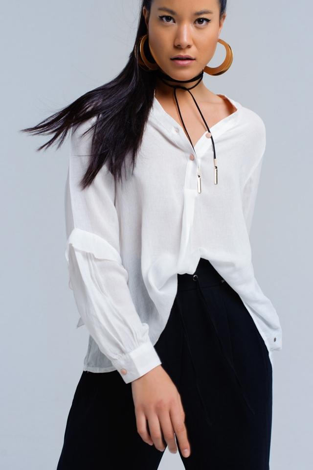 Cream asymmetric shirt