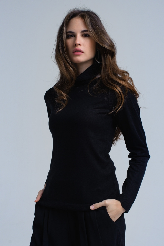 Black sweater with pleated detail