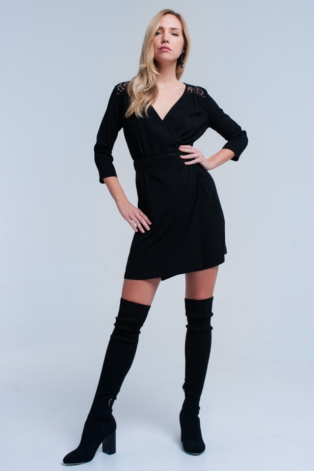 Black wrap dress with lace detail
