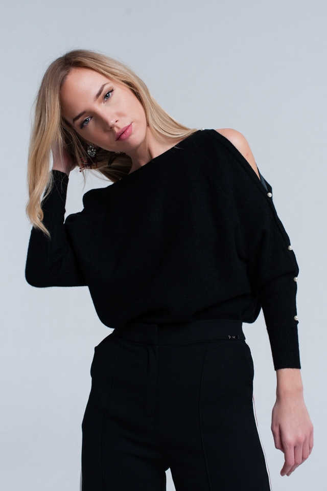 Black knitted sweater with pearl detail