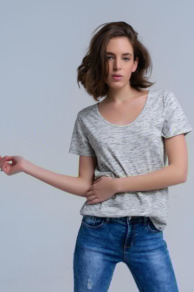 Graues T-Shirt mit Speckle-Print