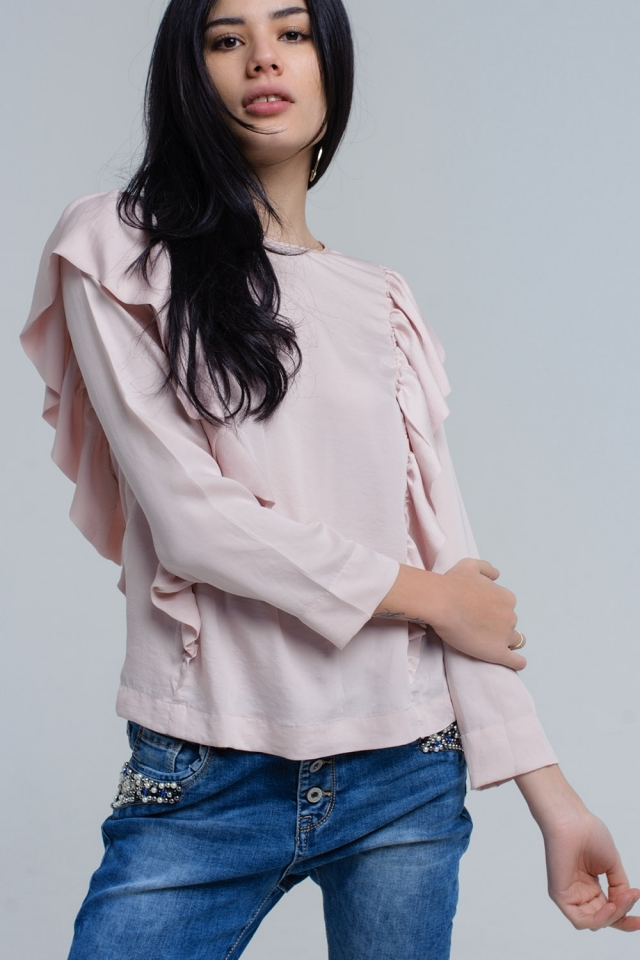 Top with ruffle detail in pale pink