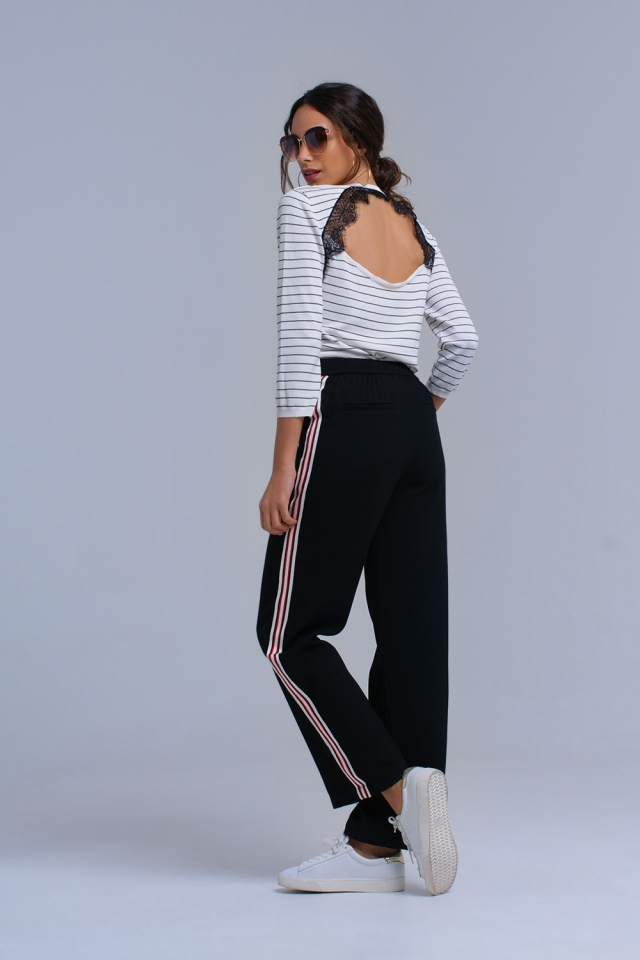 White striped sweater with open lace back