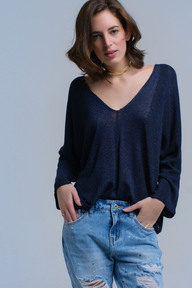 Navy asymmetric sweater