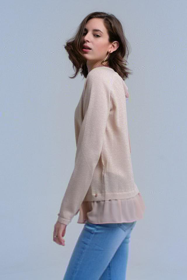 Beige shiny sweater